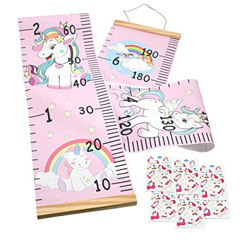 Kids Growth Height Hanging Wall Chart with 6 Unicorn Tattoo Stickers – Pink