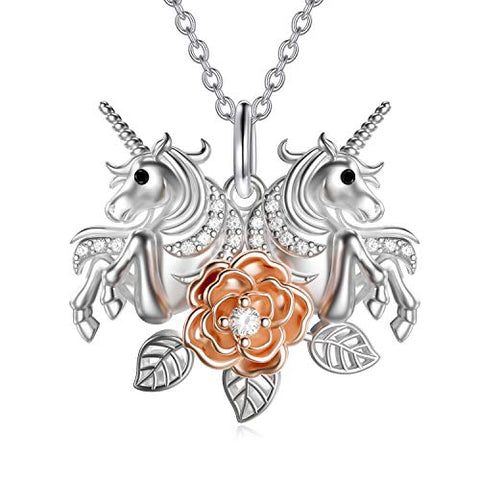Stunning Double Unicorns With Rose Flower Pendant Necklace | Jewellery For Women