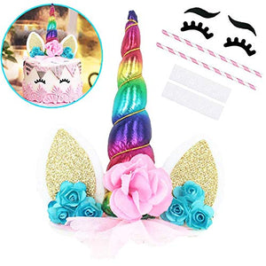 Rainbow Unicorn Cake Topper with Eyelashes Party Cake Decoration Supplies 5.8 Inch