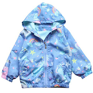 Girls Hooded Rainbow Unicorn Waterproof Jacket | Blue