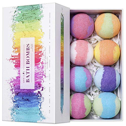 Bath Bomb Gift Set Pack of 8 | Rainbow Colours | Essential Oils