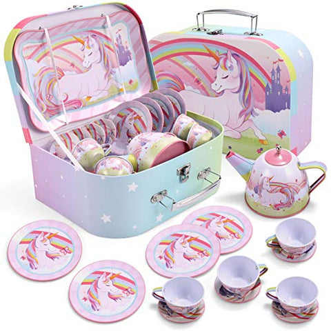 Unicorn Castle Pretend Tin Teapot Set for Tea Party | Kids | JOYIN