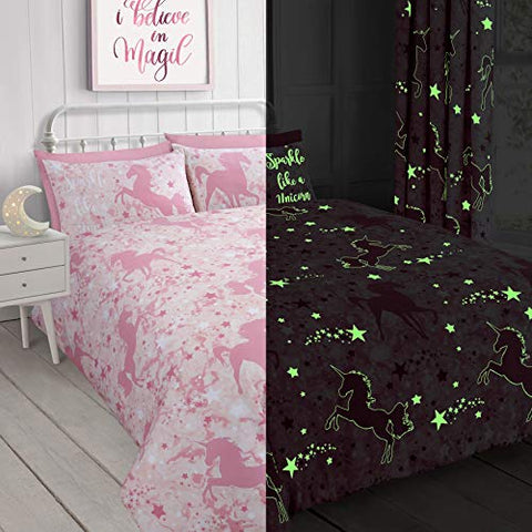Unicorn & Stars Magical Glow in the Dark Duvet Cover Bedding Set (Pink, Single)