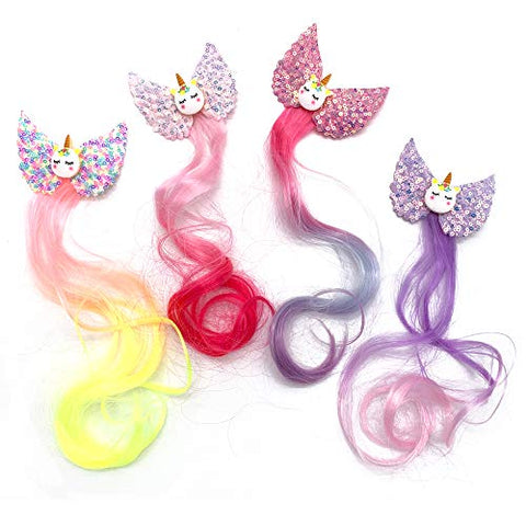 4 Piece Unicorn Hair Clip Pastel Colours