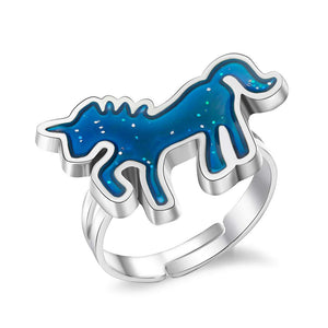 Girls Charm Jewelry Unicorn Ring Adjustable Alloy Ring (dark blue)