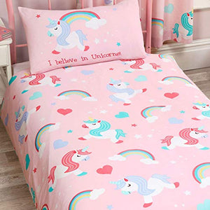 Believe In Unicorns Junior Duvet Cover and Pillowcase Set Pink Bedding Set
