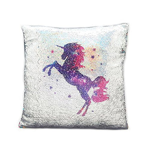 Unicorn Sequin Cushion Silver 38x38cm