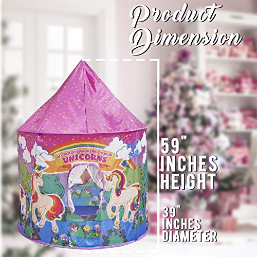 Glittles Unicorn Play Tent Toys for Girls - Magical Unicorn Gifts for Girls- Multicoloured