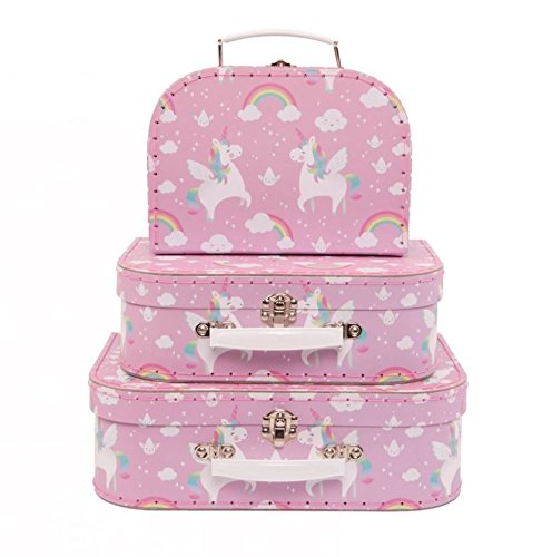 Set of 3 Rainbow Unicorn Suitcases Storage Boxes