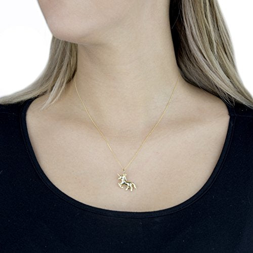 Carissima Gold 9ct Yellow Gold Unicorn Pendant on Curb Chain Necklace of 46cm/18""