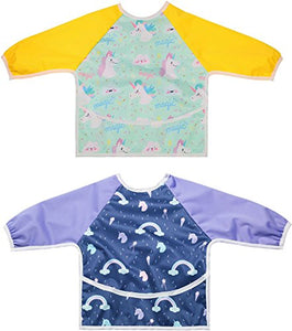 Unicorn & Rainbow Long Sleeved Bib Waterproof Bibs with Pocket | Baby and Toddler | 6 to 24 Months