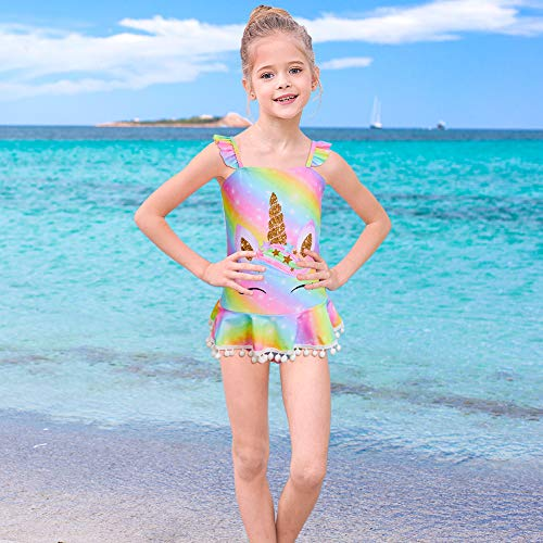 Rainbow unicorn pastel swimming costume kids