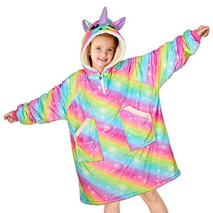 Unicorn Rainbow Blanket Hoodie | Multicoloured For Kids