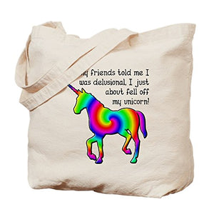 CafePress - Delusional Unicorn Funny T-Shirt - Natural Canvas Tote Bag, Cloth Shopping Bag