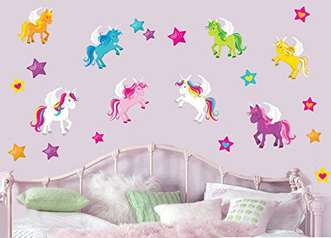 cute unicorn wall stickers pink bue