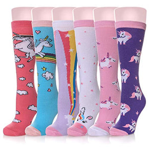 Girls Knee High Socks | Unicorn Design | 6 Pairs | Multicoloured