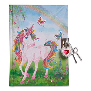 Lucy Locket Magical Unicorn Kids Secret Diary (Lockable Diary With Padlock & Keys) Glittery Diary for Children