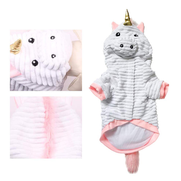 Balacoo Dog Halloween Costume Adorable Unicorn Hoodie Funny Holiday Party Cosplay Dress Up Coat Winter Warm Sweatshirt for Small Medium Large Dogs Cats Size L