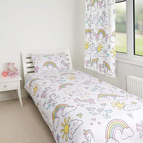 Unicorn Children's Girls Reversible Single Bed Duvet Cover & Matching Pillowcase