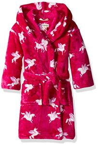 Hatley Girl's Fleece Robes | Dressing Gown | Winged Unicorns | Hot Pink