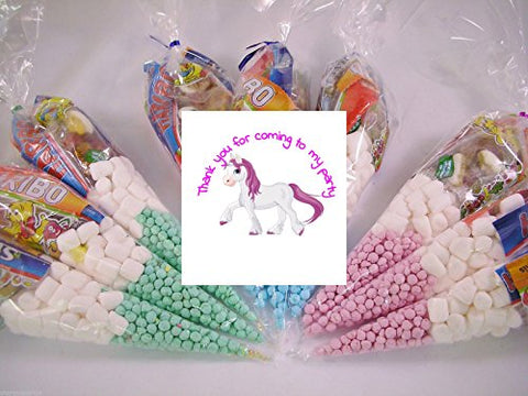 20 x Unicorn Themed Pre Filled Sweet Cones Kids Party Bags Children's Birthday