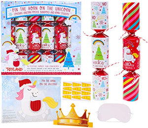 Pin The Horn On The Unicorn | Children's Christmas Crackers | 6 Pack | Toyland