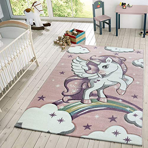 Unicorn & Stars Rug With Clouds | Pink | Size: 120 x 170 cm
