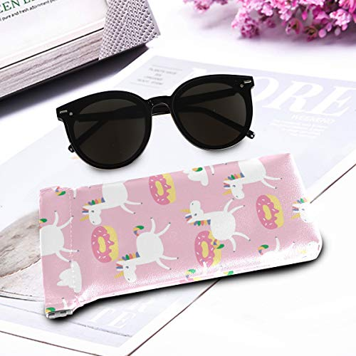 Unicorn pastel pink donuts glasses case