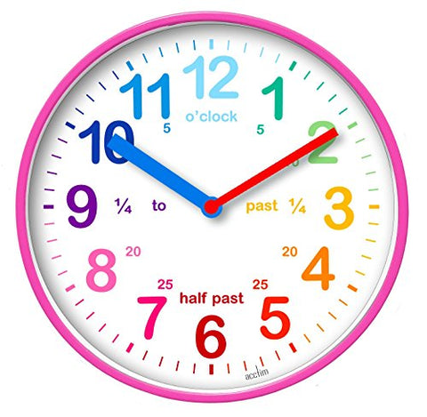 Multicoloured Kids Wall Clock in Pink | Learn The Time For Children