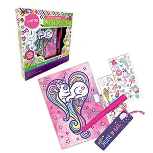 Unicorn Secret Lockable Diary For Girls Protected Journal With Stickers Bookmark And Pen