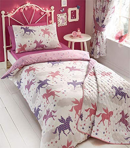 Unicorn Duvet Quilt Cover And Pillowcase Bed Set for Girls, Reversible Design