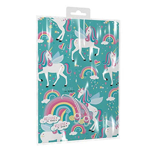 2 Sheets of Unicorn Birthday Gift Set Wrap Paper with Tags