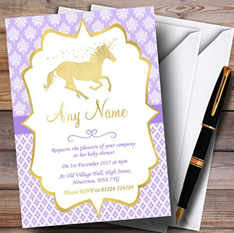 10 x Purple & Gold Magical Unicorn Invites | Baby Shower | Any Wording