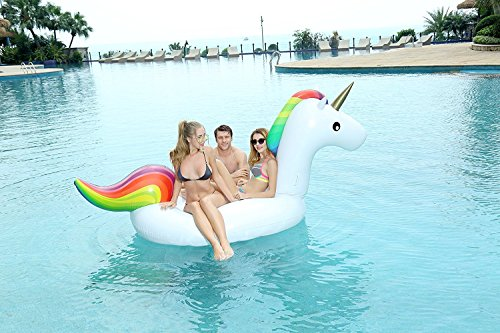 Giant Inflatable Unicorn Pool Float, Large Outdoor Swimming Pool Floatie Lounge Toy for Adults & Kids Holds Up to 2-3 People