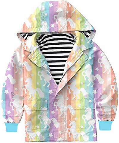 Rainbow Unicorn Girls Rain Jacket | Waterproof | Lightweight | Raincoat