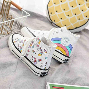 Unicorn High Top Sneakers Cartoon Unicorn Rainbow Shoes