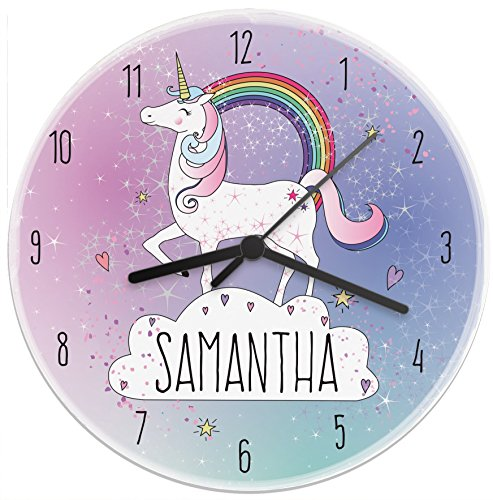 Personalised name unicorn wall clock.