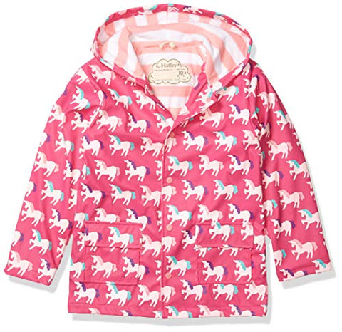 Pink Hatley Girls Raincoat Unicorns