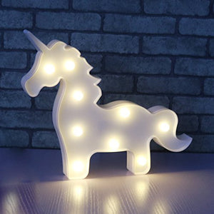 Liqy Unicorn Shaped Animal Light Table Lamp 3D Marquee Unicorn Sign Marquee Letter Nightlight Home Decoration Battery Operated