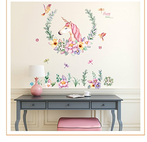 Cute Pink Lovely Unicorn with flower Wall Sticker for Room Decor