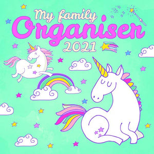 2021 Unicorn Wall Calendar | My Family Organiser | Unicorn Calendar |  Includes 180 Reminder Stickers