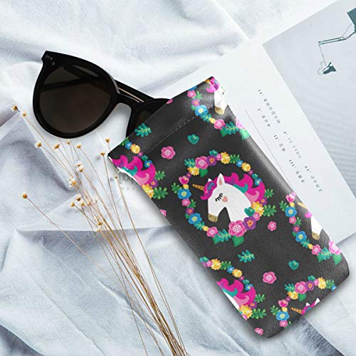 Unicorn sunglasses case pink green yellow blue black
