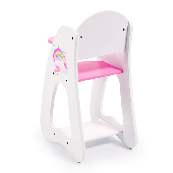 Bayer Design 50103AA Wooden High Chair Princess World, Baby Highchair, Doll's Furniture, White, Pink