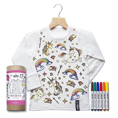 Selfie Clothing Co. Colourn Birthday Top - Unicorn, 4-6 Years, White