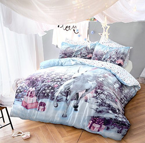 Pieridae Unicorn Christmas Quilt Duvet Cover With Pillow Case Bedding Set (Single)