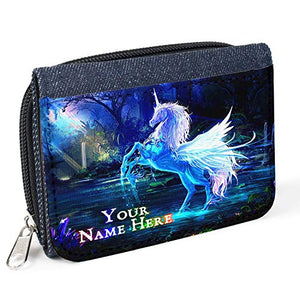 Personalised Unicorn Women's Ladies Purse Denim Coin Wallet