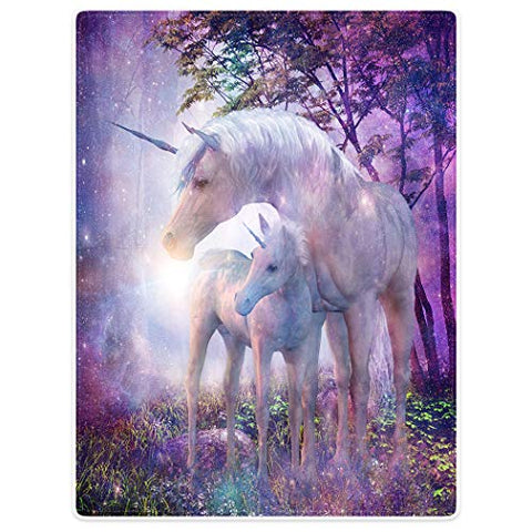 Magical Fantasy Unicorn Blanket | 150 x 200 cm | Purple