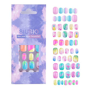 Unicorn Stick On Nail For Children Nails For Kids Girls - Colorful Rainbow Series