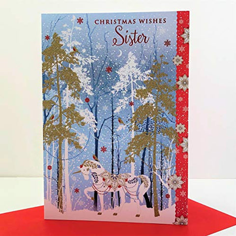 Sister Christmas Card | Unicorn Forest | Xmas Card For Her
