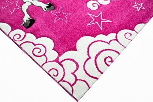 Girls pink unicorn themed rug for bedroom, would look perfect in a playroom or nursery. Unicorns clouds and stars! Anti-Slip